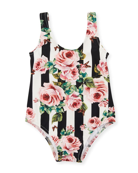 Stripe Floral One-Piece Swimsuit, Size 12-24 Months