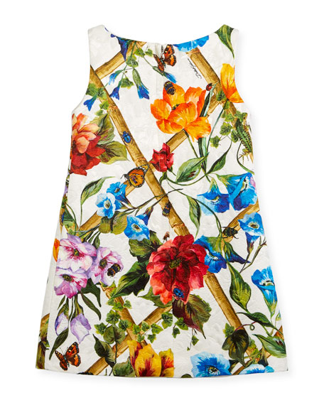 Bamboo Brocade A-Line Dress, Size 8-12
