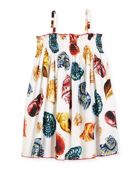 Shell-Print Smocked Poplin Sundress, Size 8-12