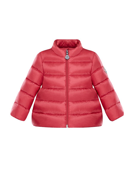 Moncler Joelle Quilted Down Coat, Dark Pink, Size