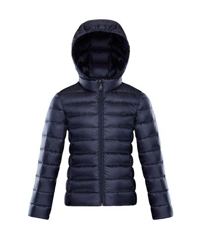 Iraida Hooded Lightweight Down Puffer Jacket, Navy, Size 8-14