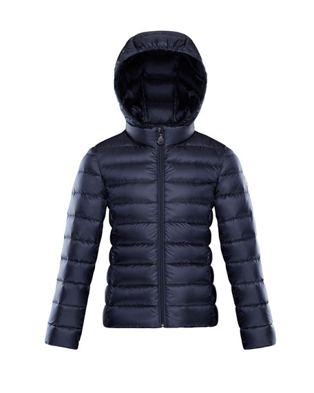 Moncler Iraida Hooded Lightweight Down Puffer Jacket, Navy,