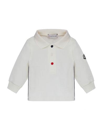 Long-Sleeve Polo w/ Side Trim, Size 12M-3Y