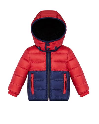 Joachin Two-Tone Lightweight Down Hooded Jacket, Size 12M-3Y