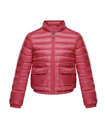 Lans Flap-Pocket Lightweight Down Puffer Jacket, Dark Pink, Size 8-14