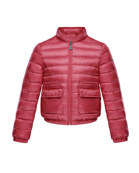 Moncler Lans Flap-Pocket Lightweight Down Puffer Jacket, Dark Pink, Size 8-14