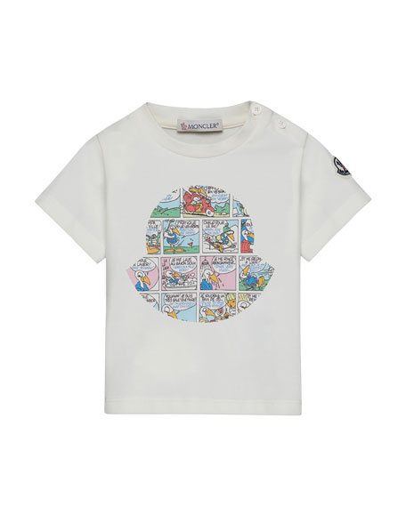 Moncler Maglia Comic-Print T-Shirt, Off White, Size 12M-3Y