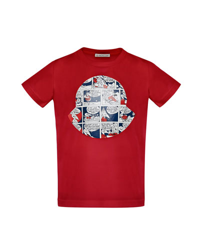 Maglia Comic-Print T-Shirt, Red, Size 4-6