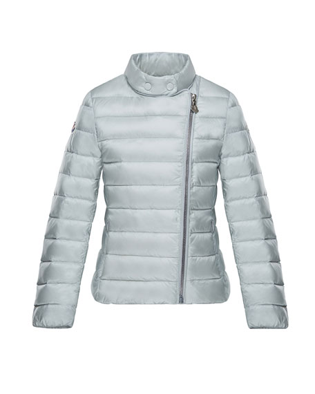 Moncler Amy Asymmetric-Zip Jacket, Light Gray, Size 8-14