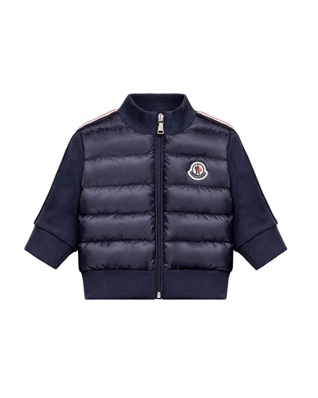 Moncler Down Quilted Coat w/ Knit Sleeves, Size