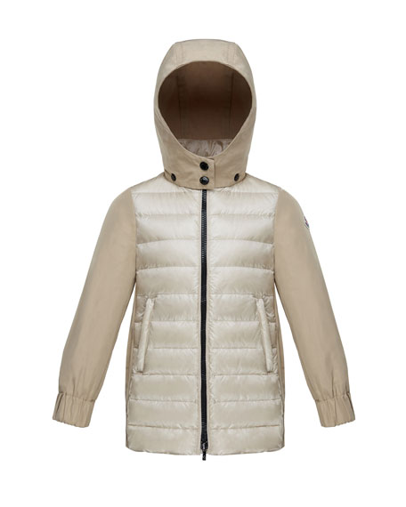 Moncler Cleofen Twill/Down Combination Coat, Size 4-6