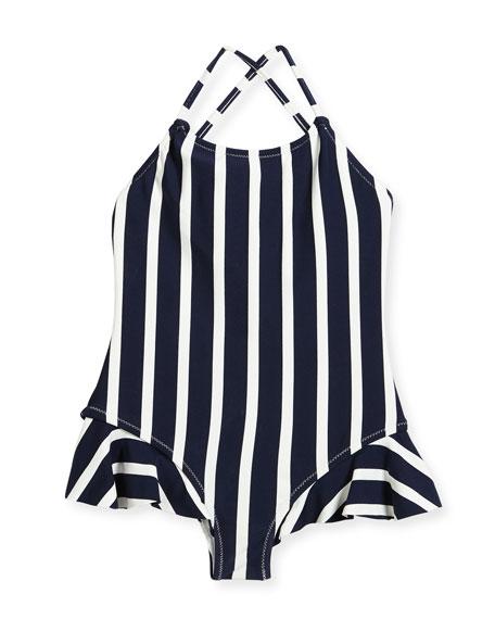 Striped One-Piece Swimsuit w/ Ruffle Trim, Size 8-14