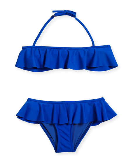 Milly Minis Ruffle Two-Piece Swimsuit, Cobalt, Size 8-14