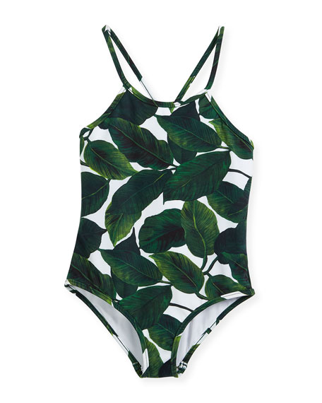 Palm-Print One-Piece Crossback Swimsuit, Size 8-14
