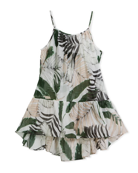 Milly Minis Palm Tree-Print High-Low Coverup Dress, Size