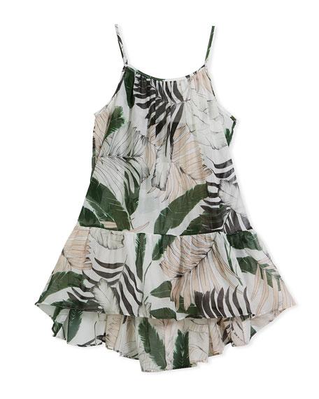 Palm Tree-Print High-Low Coverup Dress, Size 8-14
