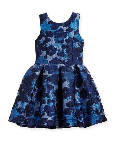 Adele Metallic Brocade Floral Dress, Size 7-16