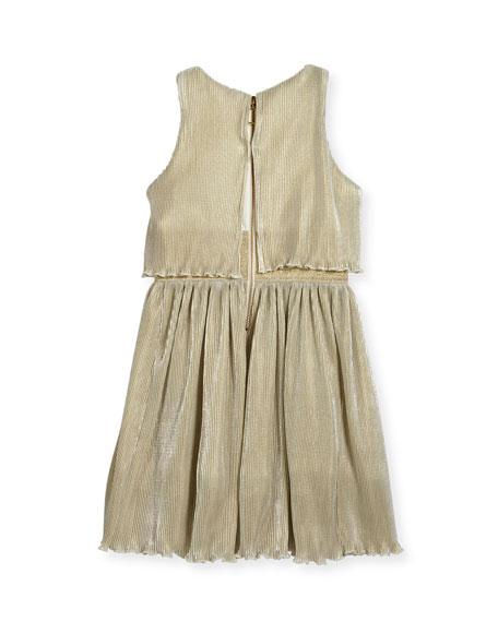 Gia Metallic Pleated Popover Dress, Size 7-16