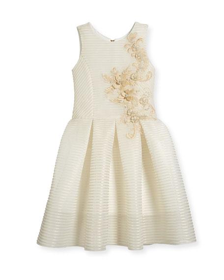 Parker Perforated Neoprene Stripe Dress, Gold, Size 4-6X