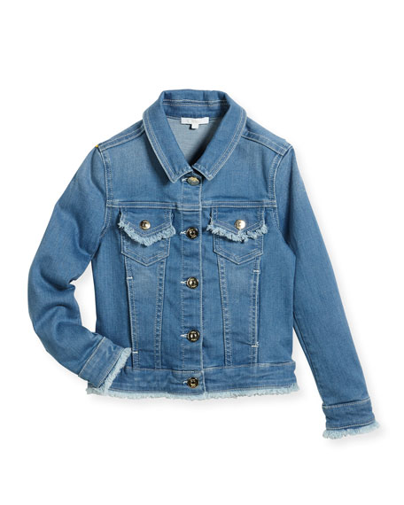 Denim Jacket w/ Frayed Trim, Size 6-10