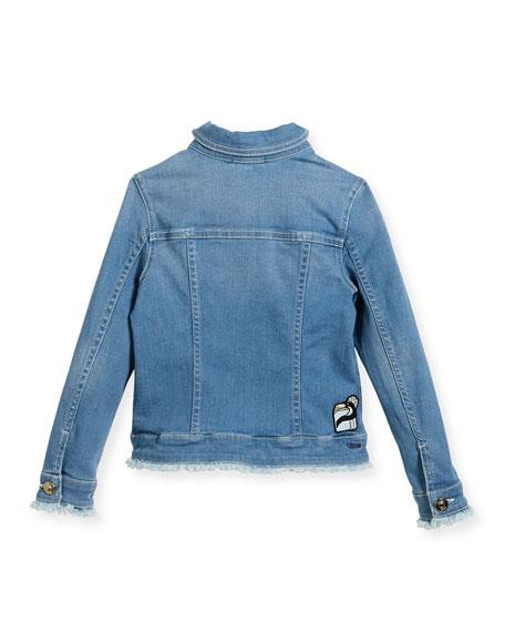 Denim Jacket w/ Frayed Trim, Size 12-14