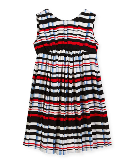 Stripe Pleat-Print Knit Dress, Size 7-14