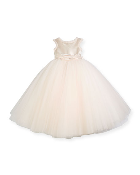 Cap-Sleeve Dress w/ Full Tulle Skirt, Pink, Size 4-8