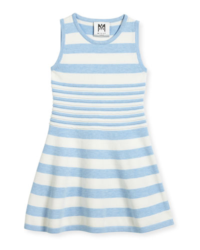 Striped Knit Flare Dress, Blue/White, Size 4-7