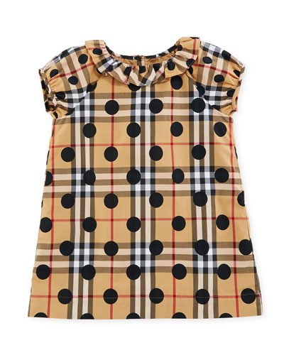 Annie Check & Polka-Dot Dress, Navy, Size 6M-3Y