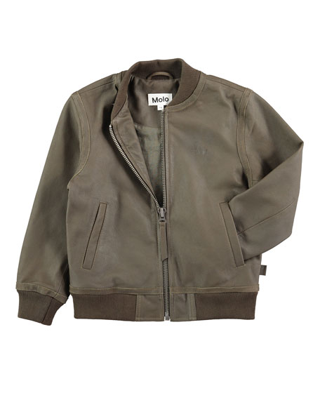 Hoya Leather Army Bomber Jacket, Size 4-10