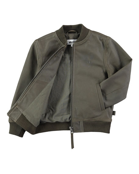 Hoya Leather Army Bomber Jacket, Size 4-10