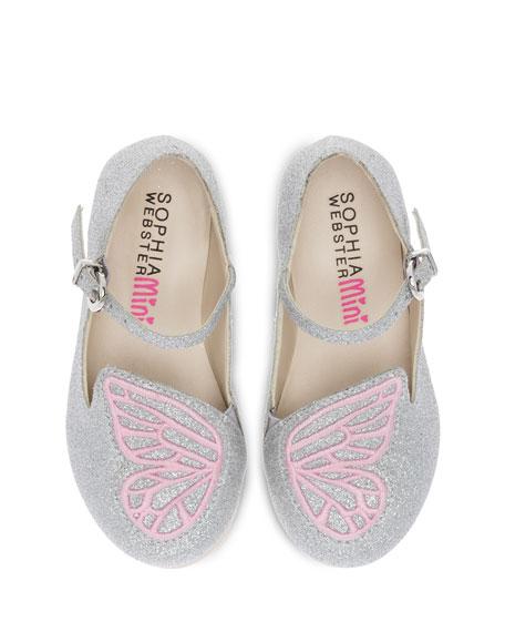 Bibi Butterfly Glittered Flat, Size 5T-3Y