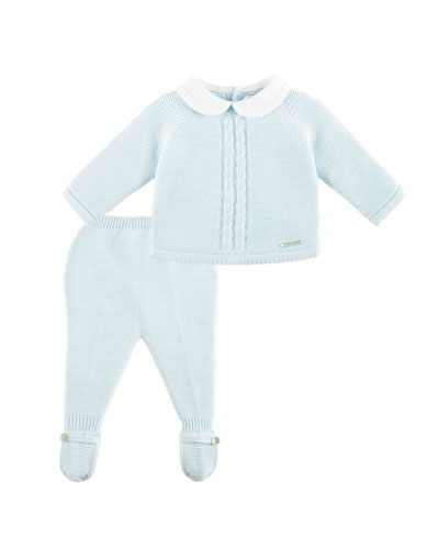 Collared Knit Sweater w/ Footed Leggings, Blue, Size 1-9 Months