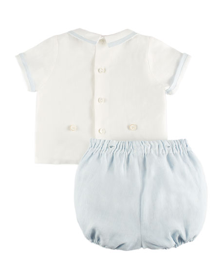 Short-Sleeve Blouse w/ Button-On Shorts, Blue, Size 3M-2Y
