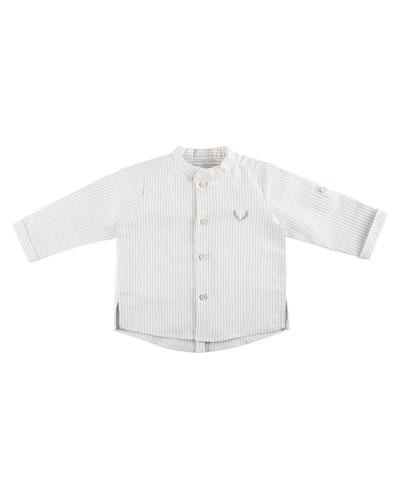 Long-Sleeve Striped Shirt w/ Mandarin-Collar, Size 12M-3T