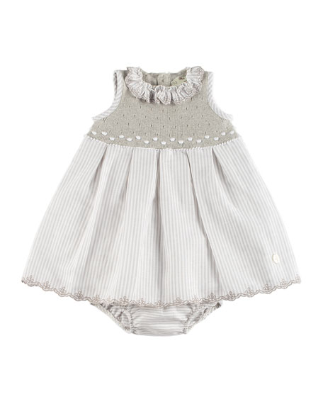 Stripe & Knit Dress w/ Bloomers, Beige, Size 3M-2Y
