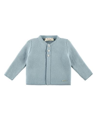 Knit Cotton Cardigan, Blue, Size 3M-2Y