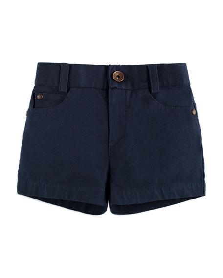 Cotton-Stretch Shorts, Blue, Size 12M-3Y