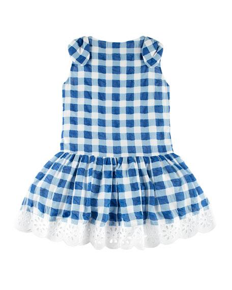 Gingham Dress w/ Flower Hem, Blue, Size 4-10
