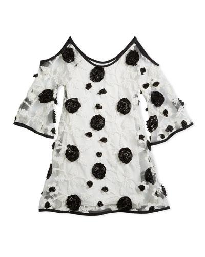 Cold-Shoulder Embroidered Flower Mesh Dress, Size 7-16