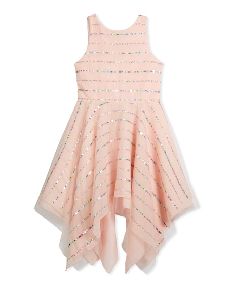 Tulle Sequin Stripe Dress, Pink, Size 7-16