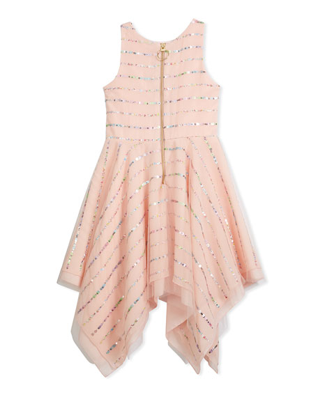 Tulle Sequin Stripe Dress, Pink, Size 4-6X