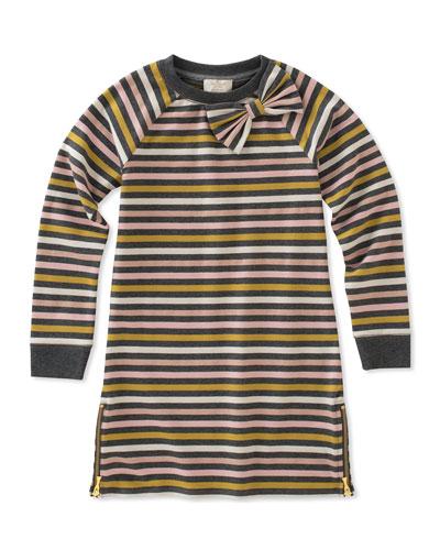 metallic stripe dress w/ zip hem, size 2-6
