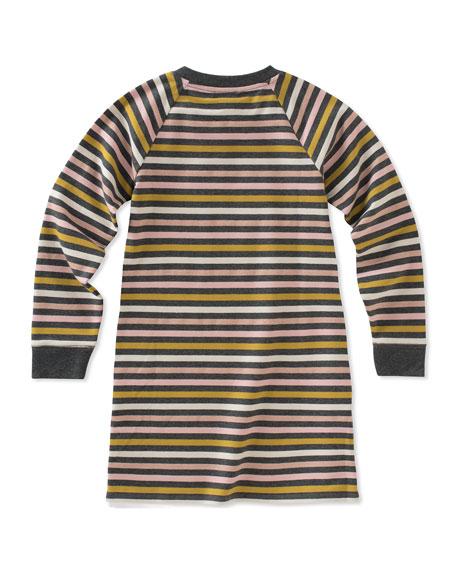 metallic stripe dress w/ zip hem, size 7-14