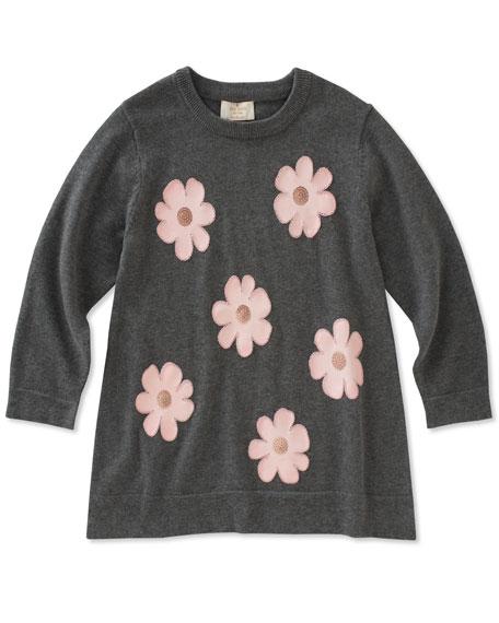 swing flower applique sweater, size 7-14