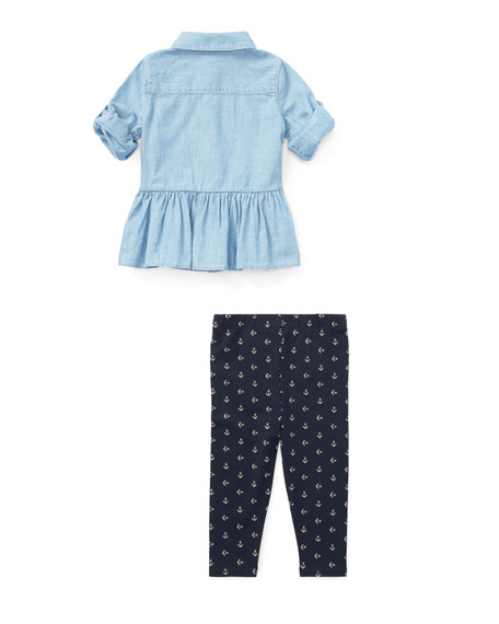 Chambray Button-Down Top w/ Anchor Leggings, Size 9-24 Months