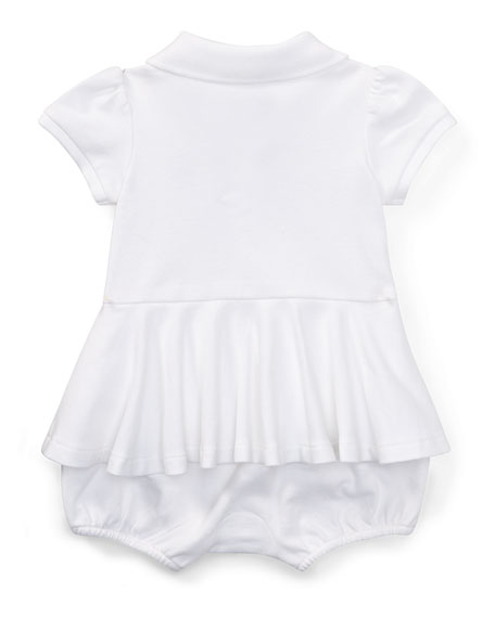 Mesh Peplum Polo Play Dress, White, Size 3-18 Months