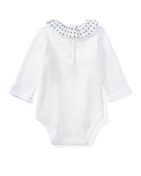 Polka-Dot Collar Long-Sleeve Bodysuit, White, Size 3-12 Months
