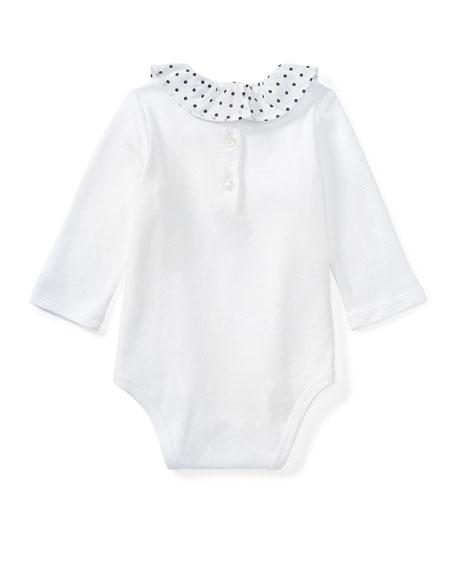 Polka-Dot Collar Long-Sleeve Bodysuit, White, Size 3-12 Months