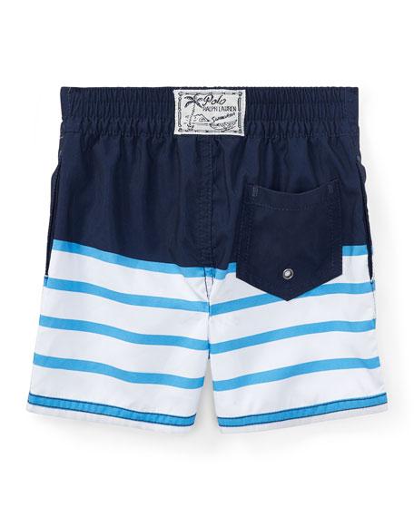 Sanibel Striped Swim Trunks, Blue, Size 9-24 Months